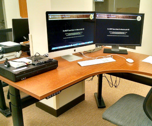 photograph of computer work station
