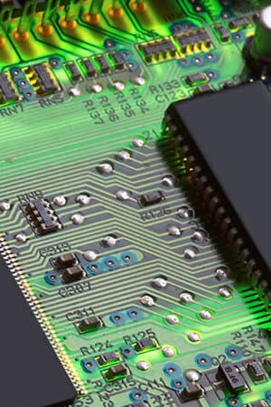 close-up of computer board